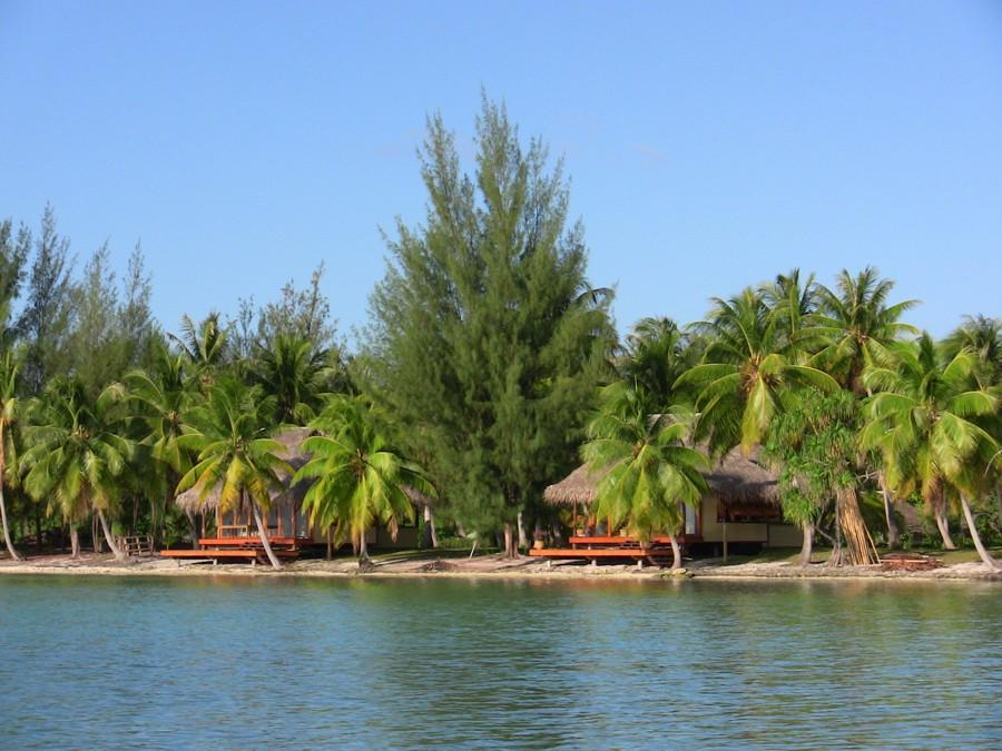 Guest houses on Motu Moie, your own private island paradise