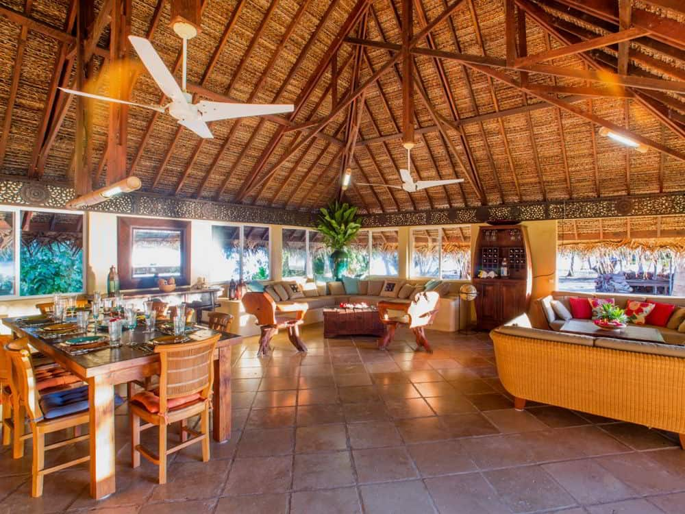 Living and dining accommodations on private island