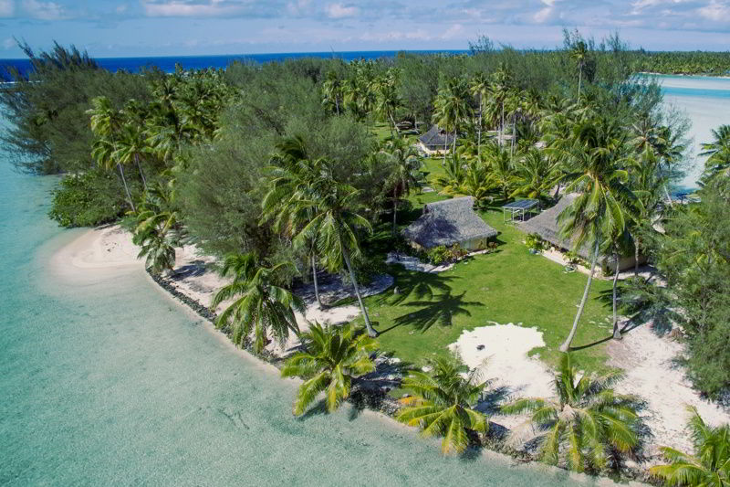 Aerial view of Motu Moie a private island for sale