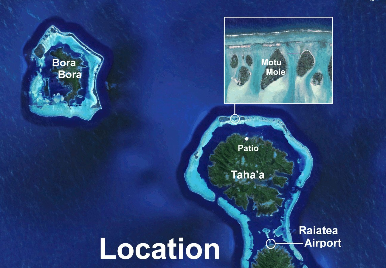 map showing the location of Motu Moie Raiatea airport and Bora Bora