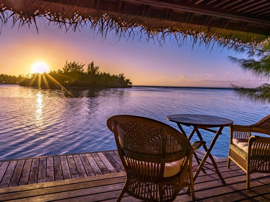 Sunset on Motu Moie, a private island that could be yours