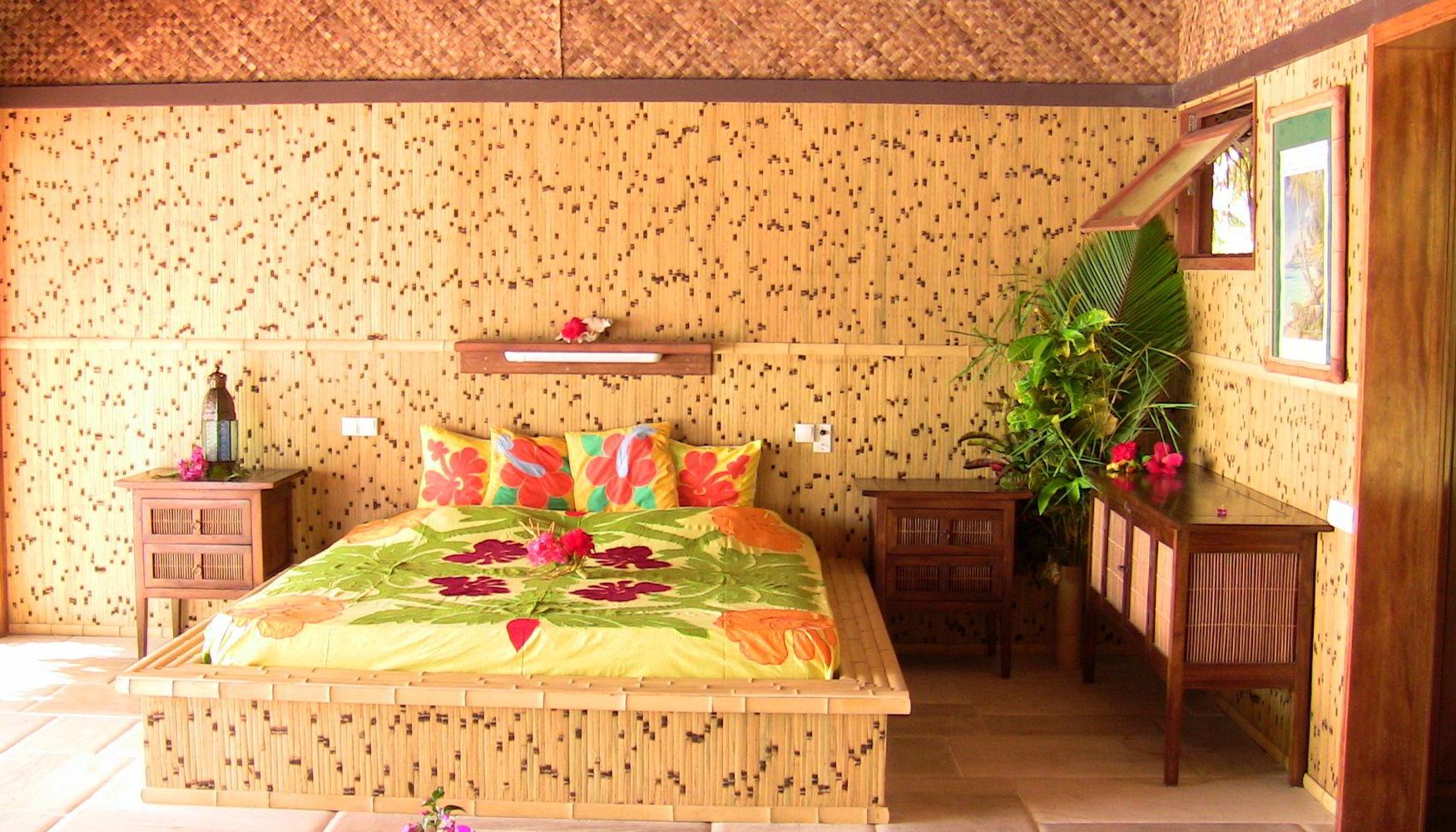 Interior of resort guest bungalow