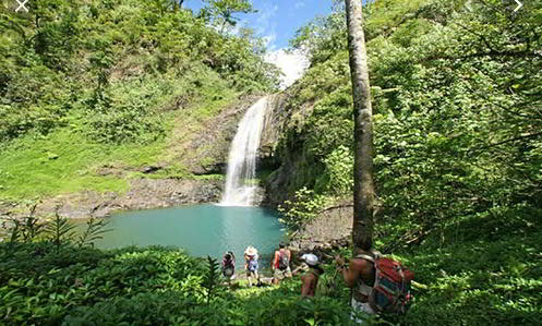Hiking on Raiatea near Motu Moie island for sale