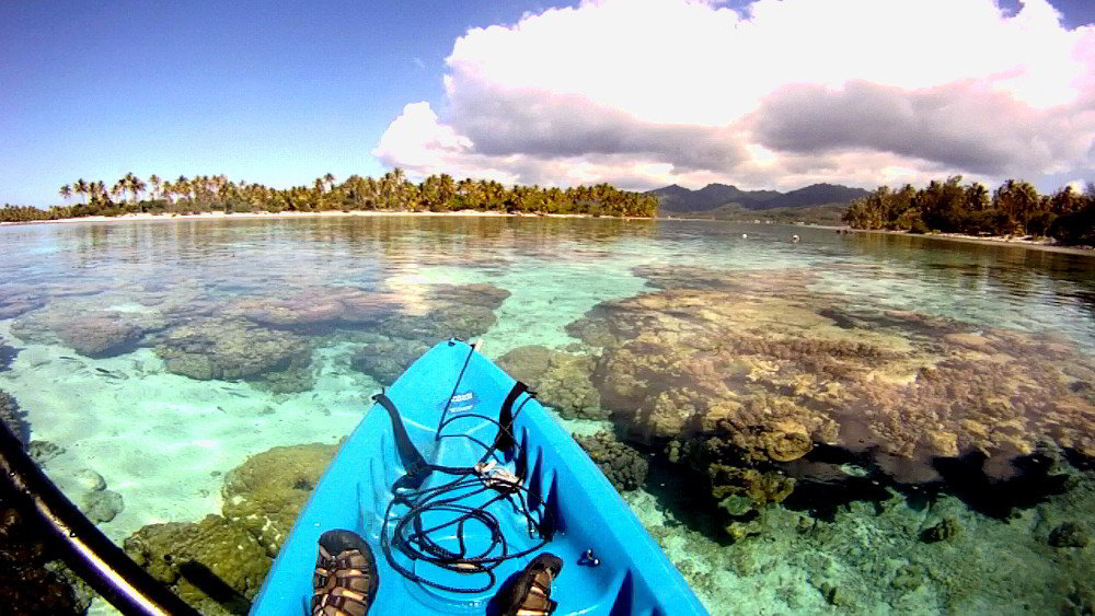 GoPro view of kayaking in the coral garden near Motu Moie