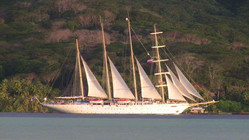 Cruise ship from Hawaii in Tahaa lagoon