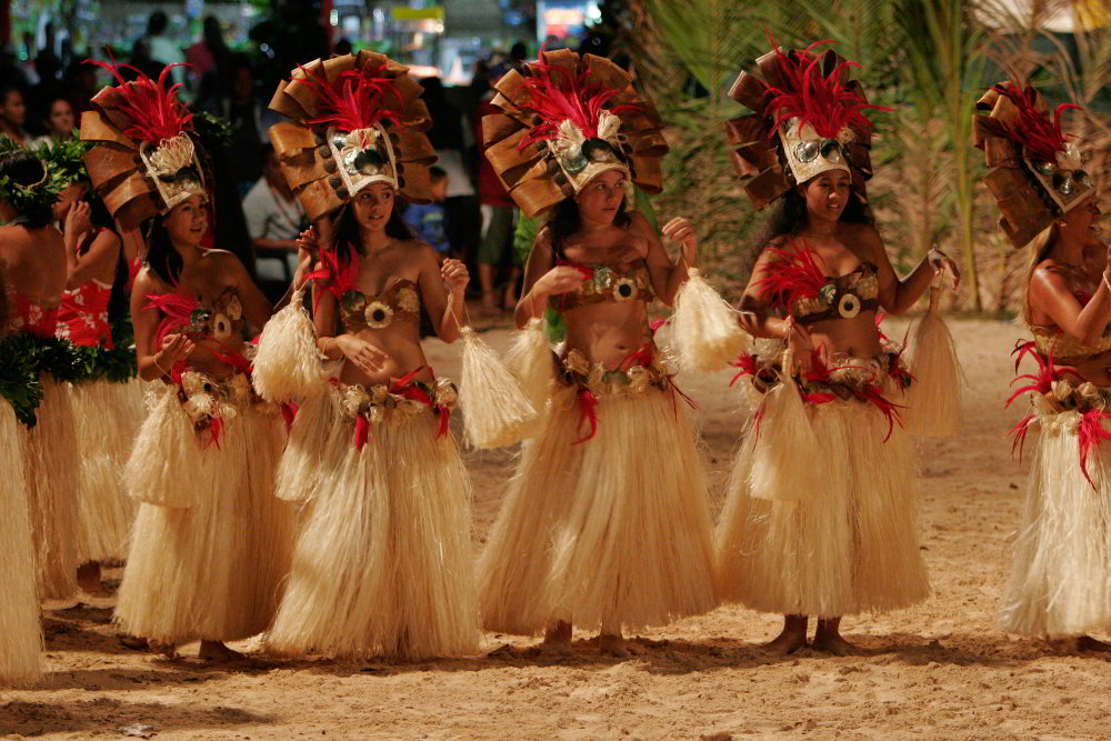 Tahitian dance festival on Tahaa island in French Polynesia