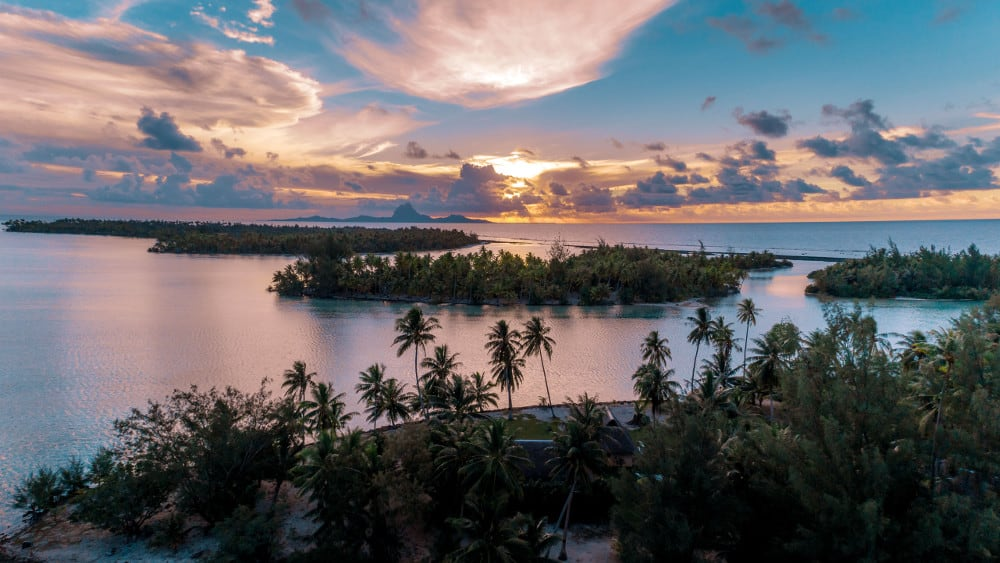Sunset from above Tahiti island for sale