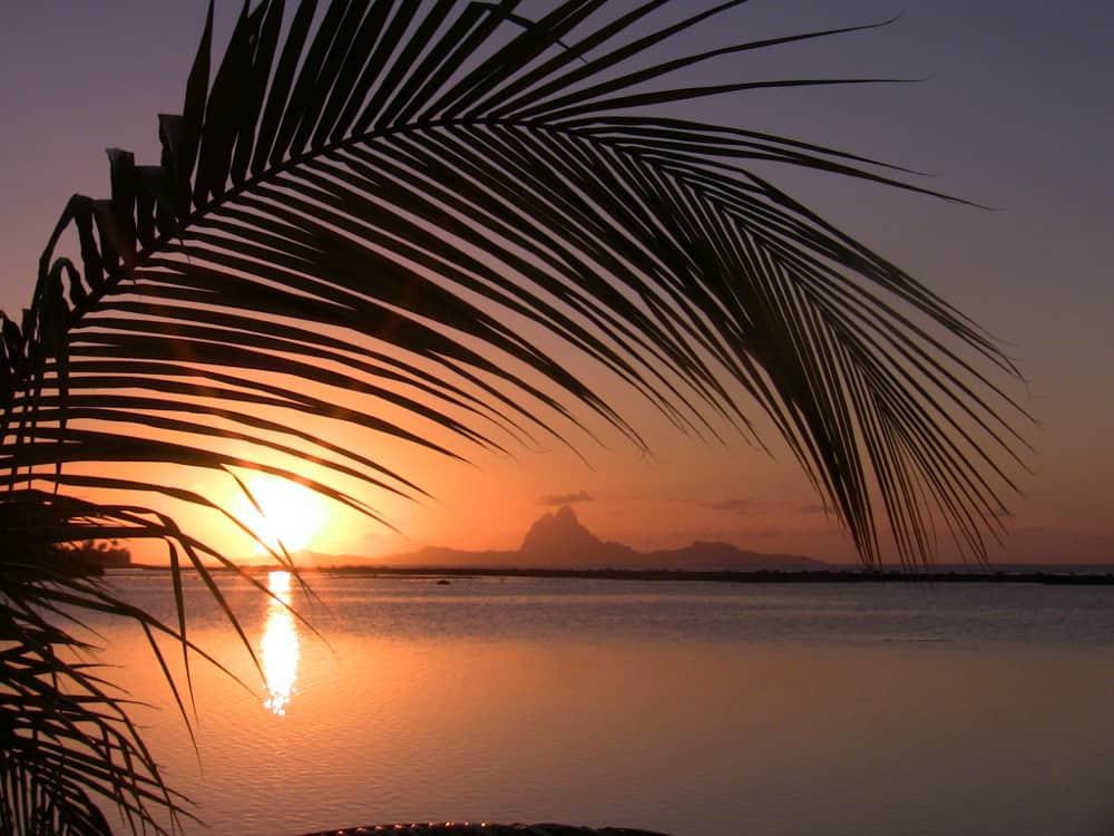 Sunset over Bora Bora from Motu Moie