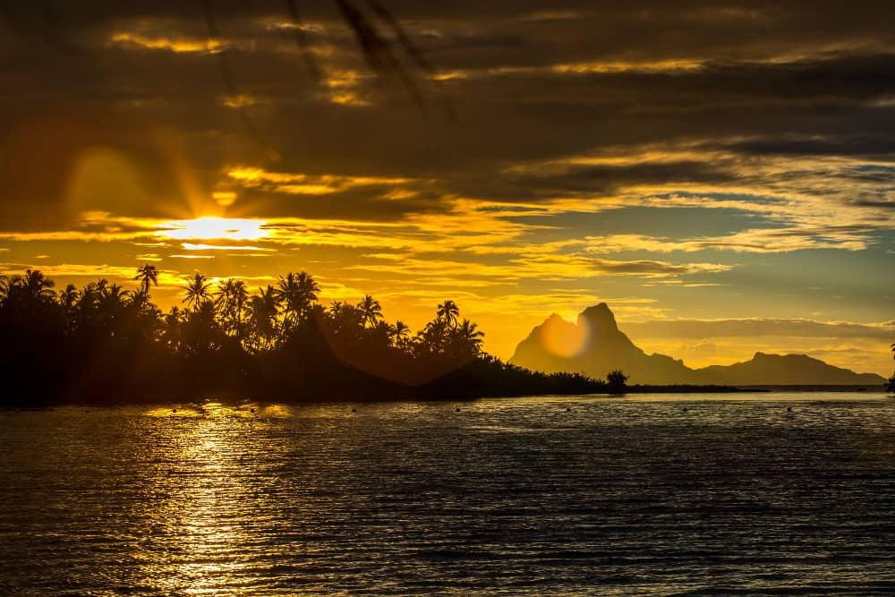 Bora Bora sunset from Motu Moie