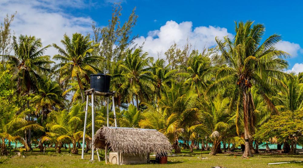 Fresh water tower on Tahiti island far from CODI-19 problem