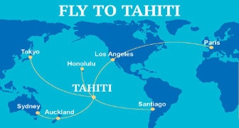 Daily flights to Tahiti from around the world, including Los Angeles, Paris, Tokyo, Sydney and Santiago