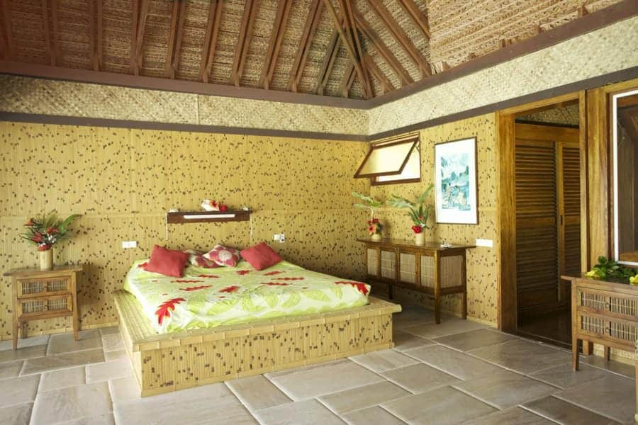 Tahitian style bedroom on private Tahiti island for sale