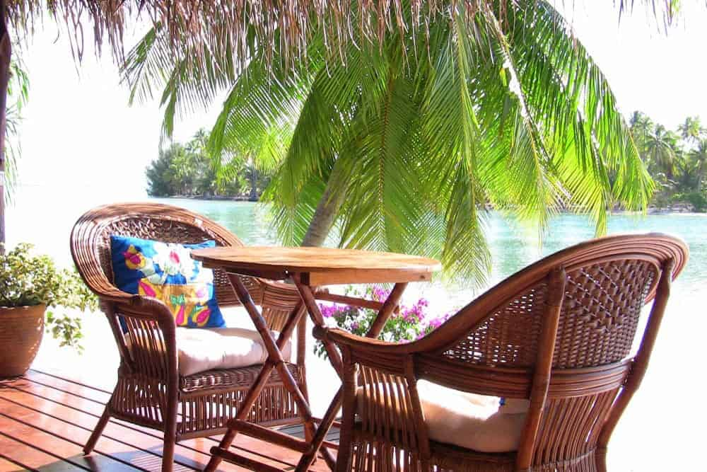 seating for lunch on the deck of guest bungalow in Tahiti