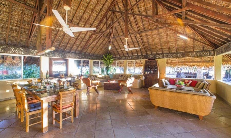 Interior view of bungalow on Motu Moie private island