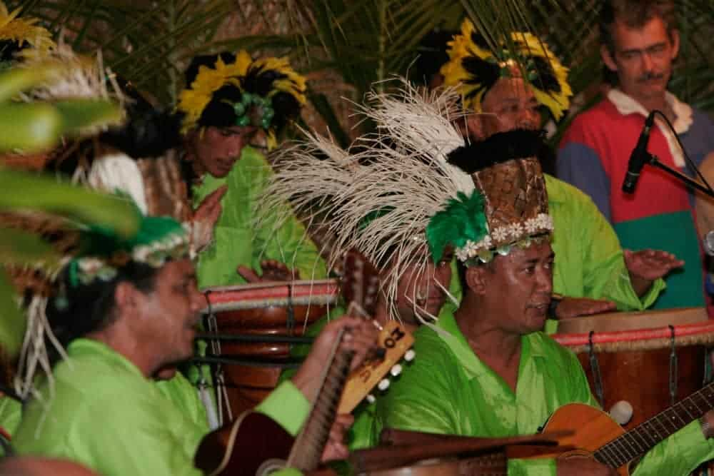 Traditional Tahitian music is played at Heiva dance festivals