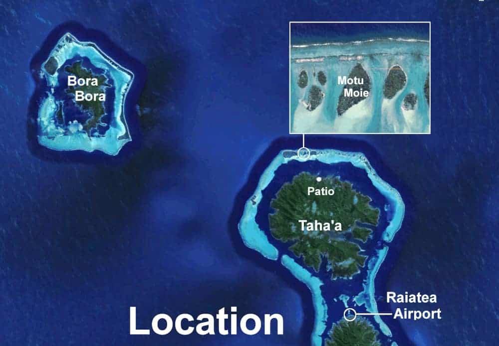 Aerial view of the location of Raiatea Airport, Taha'a and Bora Bora, with cloweup of Motu Moie
