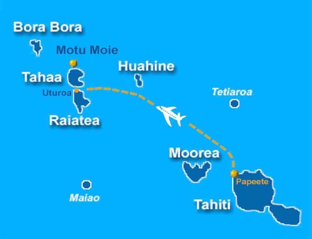 Map showing flight from Papeete to Uturoa Raiatea, near Motu Moie on Tahaa, 15 miles from Bora Bora