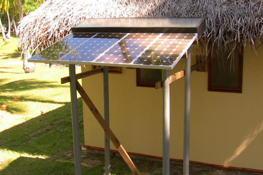 solar power supplies electricity and hot water for bungalows on private island Motu Moie, Tahiti island for sale
