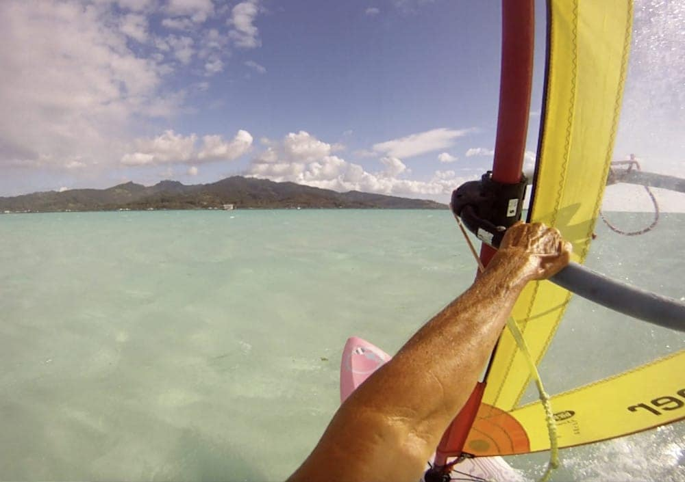 windsurfing with GoPro camera from Motu Moie, private tahiti island for sale