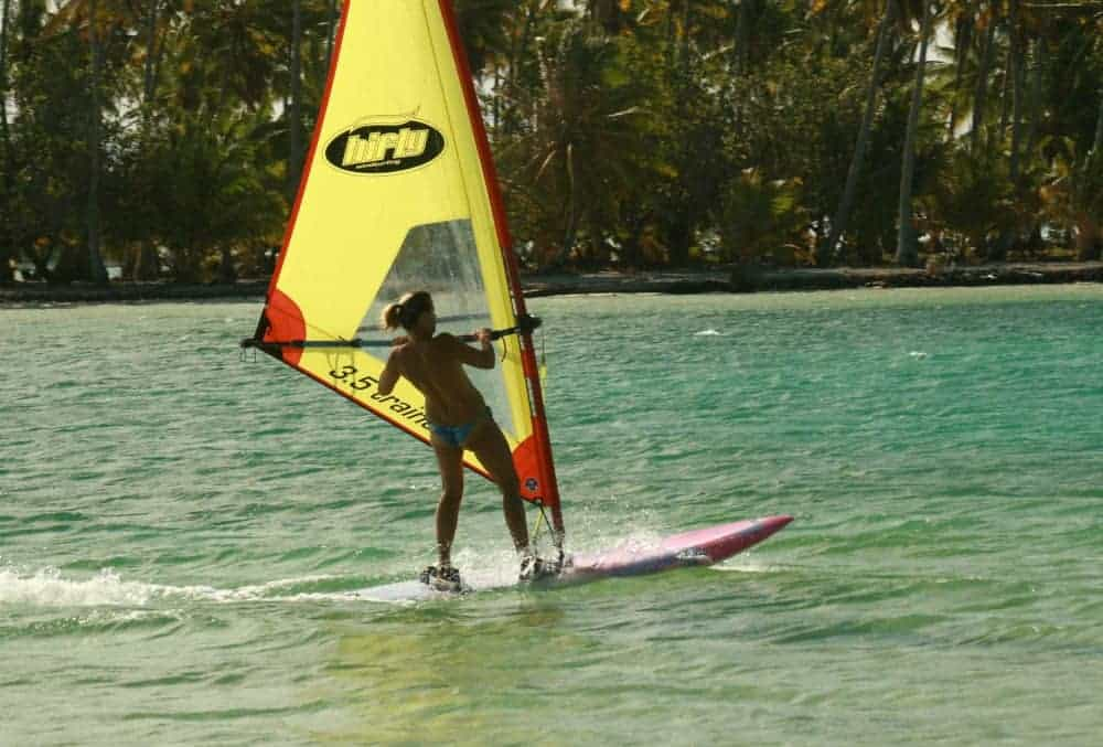 Inger windsurfing from Motu Moie, Tahiti island for sale